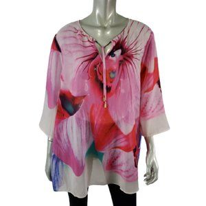 Chicos Black Label 3 Tunic Top XL Pullover Pink